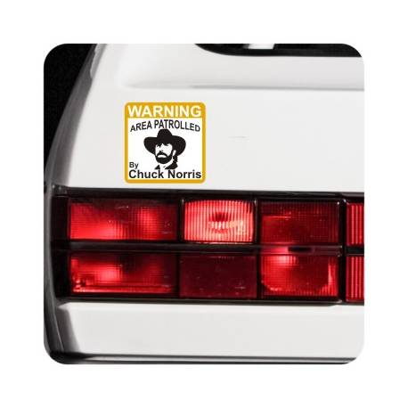 Sticker warning chuck norris
