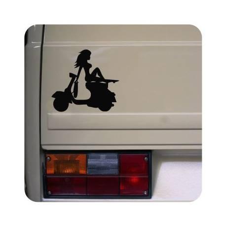 Sticker vespa girl