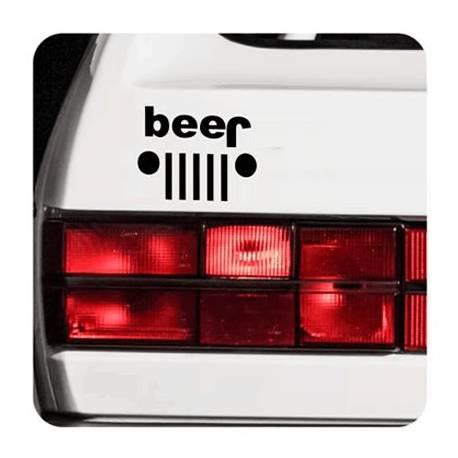 Pegatina Beer - Jeep. Vinilo de alta calidad, soporta perfectamente la intemperie, apto incluso para náutica. Pégala donde quier