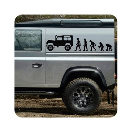 Pegatina Evolucion Land Rover. Vinilo de alta calidad, soporta perfectamente la intemperie, apto incluso para náutica. Pégala do
